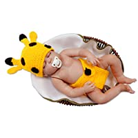 Kalevel Cute Cartoon Giraffe Style Infant Newborn Baby Girl Boy Crochet Beanie Hat Clothes Baby Photograph Props