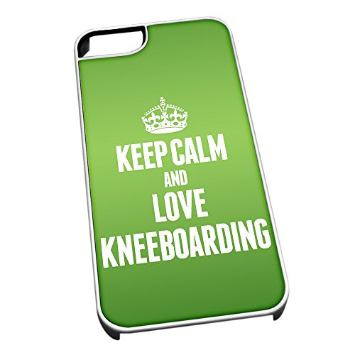 Bianco cover per iPhone 5/5S 1811 verde Keep Calm and Love Kneeboarding