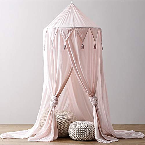 USTIDE Mosquito Net Bed Canopy Yarn Princess Bed Canopy with Pendant Lace,Round Curtain Hanging Tent Decoration Game House for Kids Indoor Outdoor Castle Play Tent,Pink