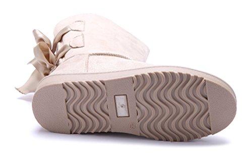 Schuhtempel24 Damen Schuhe Winterstiefeletten Stiefel Boots Flach Zierschleife/Emu Beige