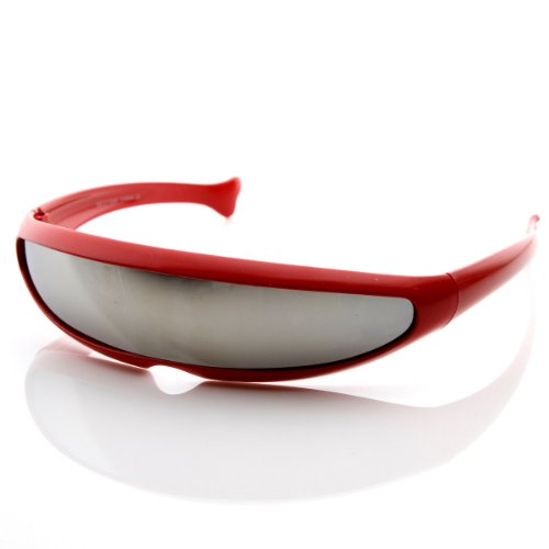 [zeroUV - Futuristic Narrow Cyclops Novelty Party Shield Sunglasses (Red)] (Cyclops Glasses)