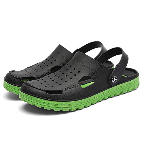 Garden Clogs for Men Shoes Mules Lightweight Breathable Sandals Slippers Two-Tone Double Layer Slip-On Massage Walking Slippers Anti-Slip Quick Drying Water Shoes Beach Boat Sandals Black Green 45