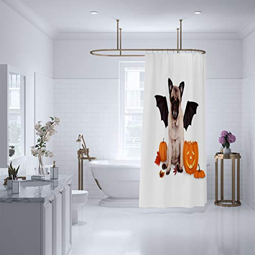 SCOLOMI Unique Art Shower Curtain,Bathroom-Polyester-Resistant-Waterproof Pug Dog Dressed up as bat for Halloween with Funny Pumpkin lantern-86 x72]()