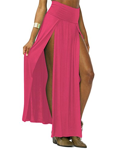 Yipost Women's Double Slits Maxi Skirt (One size, Deep Pink)