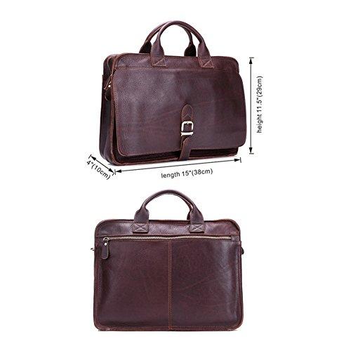 Première Couche en Cuir Porte-Documents Messenger Laptop Bag épaule des Hommes Messenger Bag Sac à Main Sacs Business Fit 14 Pouces pour Ordinateur Portable