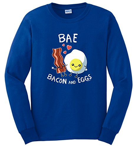 Bacon Themed Gifts BAE Bacon and Eggs Funny Bacon Gift Long Sleeve T-Shirt Large Royal (Breakfast Themed Gift Baskets)