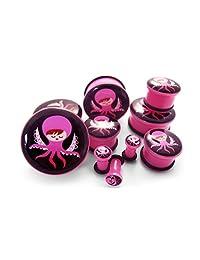 Pair of 6 Gauge (6G - 4mm) Miss Octopus Pink Plugs - Single Flare