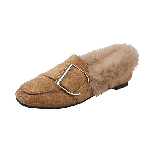 Elevin (tm) 2018Mujer Invierno Casual Faux Fur Warm Buckle Belt Pisos Guisantes Mocasín Zapatos De Nieve Marrón