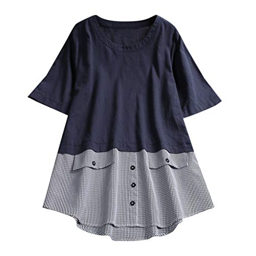POQOQ Blouses Women's Plus Size Casual V-Neck Short-Sleeve
