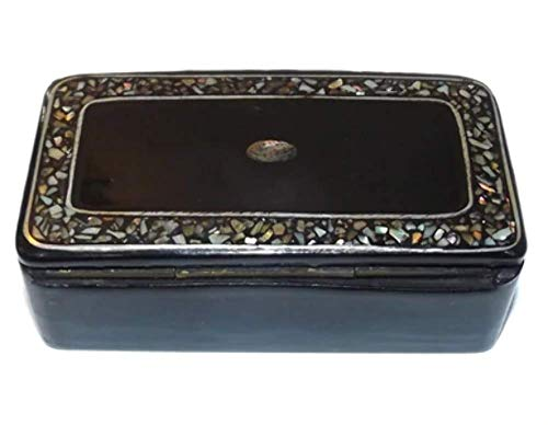 Vintage French Wood Lacquer Trinket Box with Mother-of-Pearl & Abalone Inlaid Lid