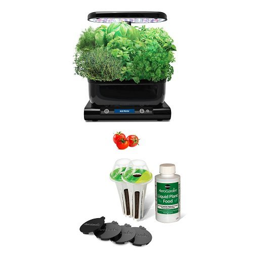 (AeroGarden Harvest, Black with Gourmet Herb Seed Pod Kit and Red Heirloom Cherry Tomato Seed Pod Kit (6-Pod))