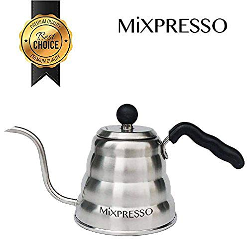 Gooseneck Pour Over Coffee & Tea Kettle By Mixpresso Coffee | Ideal For Pour-Over Coffee Makers | Barista Pour Control Design | Stainless Steel Design & Dishwasher Safe | Thermometer