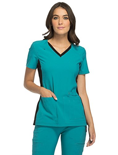 Iflex By Cherokee Women's V-Neck Knit Panel Solid Scrub Top Large Teal (Teal V-neck Scrub)