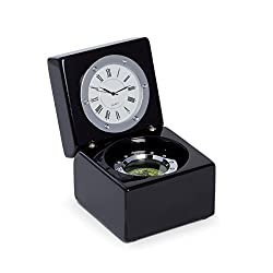 Compass and Clock in Lacquered Black Finish Hinged Box with Chrome Accents