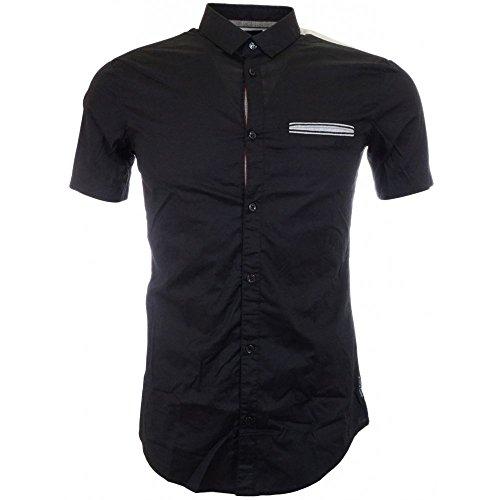 ARMANI JEANS A6C76 Blue Short Sleeve Extra Slim Shirt M Blue