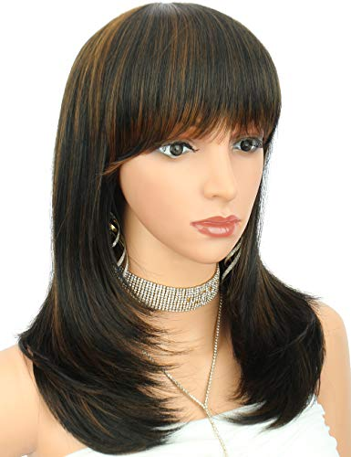 Kalyss Women's Wig Long Straight natural Layers black brown highlights Synthetic Hair wigs for Women