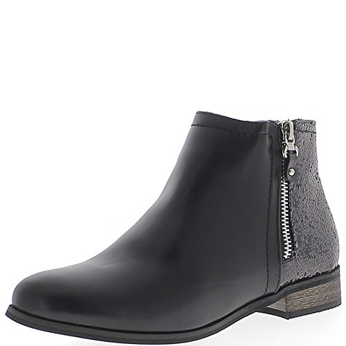 Bottines noires à talon de 2,5cm aspect cuir et paillettes
