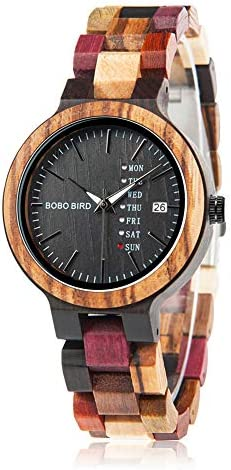 BOBO BIRD Ladies wooden watches Colorful wooden watches Week and date display Multifunction handmade quartz watch Sport Chronograph Unique wrist watch