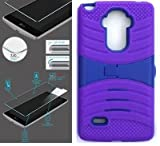 [ NP ARMOR ] Premium Tempered Glass Screen Protector + uPURPLE/Blue Phone Case for LG G Stylo/Stylus / LS770 / H631