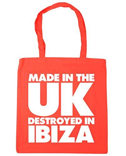 HippoWarehouse hergestellt in Großbritannien Zerstört in Ibiza Einkaufstasche Fitnessstudio Strandtasche 42cm x38cm, 10 liter - Koralle, One size