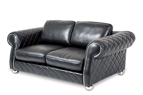 Michael Amini Lugano Leather Loveseat, Smooth Black/Stainless Steel