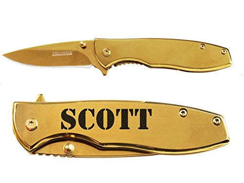 Name Scott engraved Mirror Gold Finish TAC-Force TF-573 Speedster Executive Model Folding Pocket Knife by NDZ Performance (Speedster Scott)