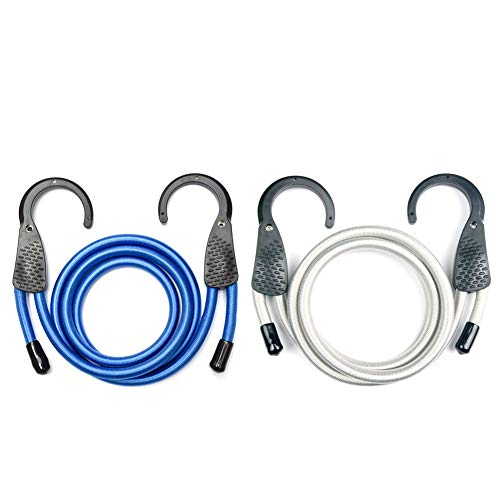 Adjustable Bungee Cord with Extra Wide Opening Steel Hooks(blue/grey)