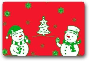 Fabulous Store Custom Merry Christmas Snowman Background Fabric Machine-wahable Non-woven Doormat Indoor/Outdoor