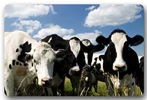 """Cute Cow felpudos cubierta antideslizante lavable a máquina interior y exterior para cuarto de baño decoración de la cocina alfombra 'Bienvenido' Felpudo–23,6(L) X 15,7(W), 3/16""""de grosor"""