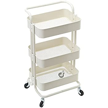 HollyHOME 3 Tier Rolling Cart Metal Utility Cart With Handles, Art Cart  Bathroom Storage Cart