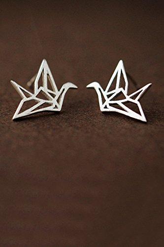 s925 Silver Stud Earrings earings Dangler Eardrop Wishing Woman Pray Good Luck Origami Fashion Gift Girlfriend Girlfriend Birthday Gift