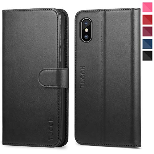 iPhone Xs Max Wallet Case, iPhone Xs Max Case, TUCCH PU Leather Flip Case with Card Slot,RFID Blocking,Wireless Charging,Magnetic Closure [Auto Wake/Sleep] for iPhone Xs Max(6.5 inch) - Black
