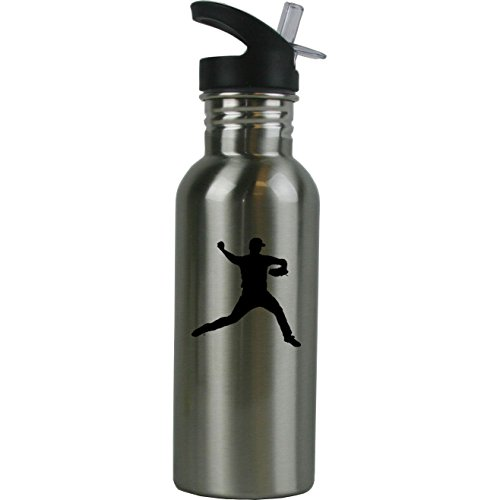 Personalized Custom Baseball Pitcher Stainless Steel Water Bottle with Straw Top 20 Ounce Sport Water Bottle Customizable