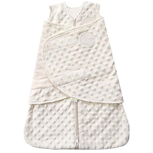 (HALO SleepSack Plush Dot Velboa Swaddle, Cream,)