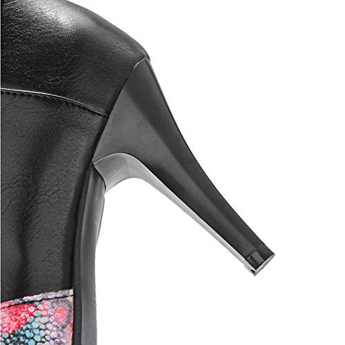 H HFour Seasons donna (beige nero) fiore di mosaico stivali corti fine tacco-gomma aguzza antiscivolo scarpe da donna , black , 40