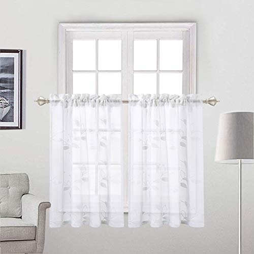 Haperlare White Sheer Kitchen Tiers Curtains, Leaves Pattern Sheer Short Bathroom Window Curtain, Floral Embroidered Half Window Covering Voile Tier Curtains, 26