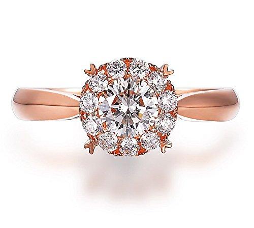 A la venta: de medio quilate diamante redondo anillo de compromiso con Halo en forma