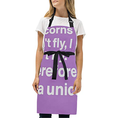 HJudge Womens Aprons Unicorns Can't Fly Kitchen Bib Aprons with Pockets Adjustable Buckle on Neck