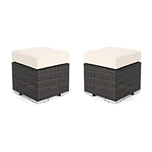 Malibu Outdoor 16 Inch Multibrown Wicker Ottoman Seat with Beige Water Resistant Cushion (Set of 2)