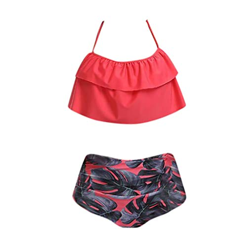Genutery Womens Bohemia Swimsuit, Plus Size Floral Printed Sexy Swimwear High Waist Lace Up Backless Monokini Swimwear Hot Pink]()
