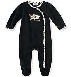 Juicy Couture Baby Girls\' Velour Coverall, Black, 6-9 Months