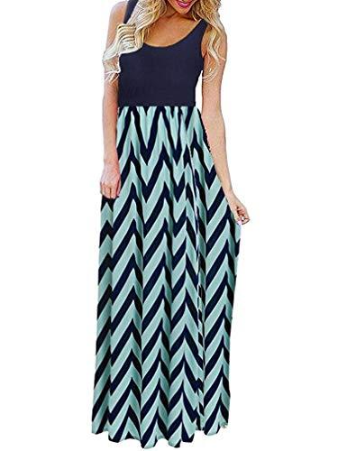 Sherosa Women Boho Chevron Striped Print Summer Sleeveless Tank Long Maxi Party Dress (XL, Blue)