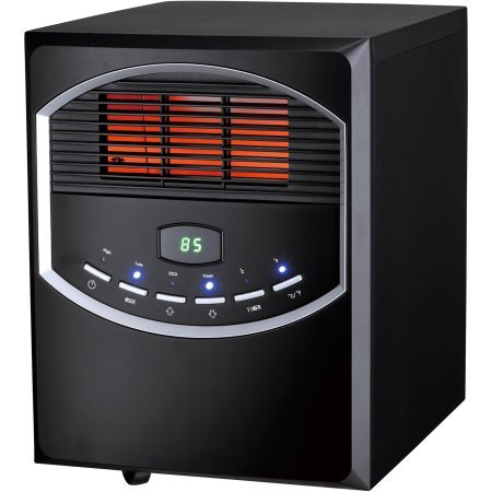 4-Element Quartz Electric Room Heater with Remote, 750/1500 Watt, Black Metal Cabinet with Wheels PH-91S