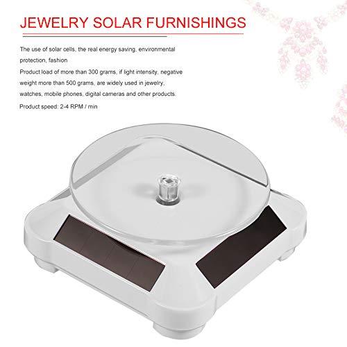 blanc Vitrine solaire mode 360 bo/îtiers et pr/ésentoirs /à bijoux rotatifs automatiques /à plateau tournant pour collier montre-bracelet