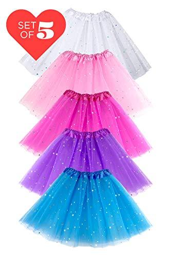 (Girls Ballet Sparkle Tutu Tulle Skirt Dress Up Birthday Favors Princess | Multi Color 5 Pack (Multi))