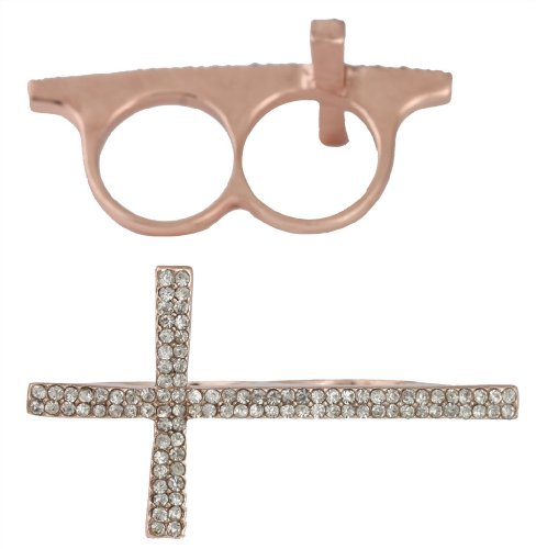 Gold Tone Finger (2 Pieces of Rose Goldtone Iced Out Cross Double Finger Ring (D-369))