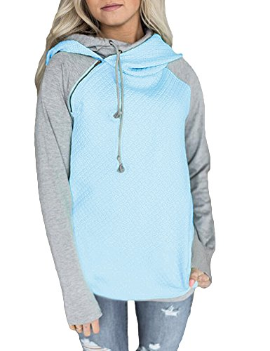 (Romacci Women Hoodie Sweatshirt Long Sleeve Spliced Color Casual Pullover Tops with Pockets (Small, Light Blue))