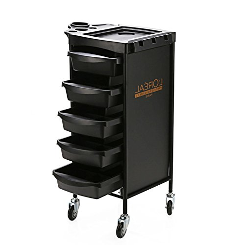 Black Storage Trolley Salon Hairdresser Barber Cart Beauty Spa Hair Colouring Accessories Tray With 5 Drawers by SalonTrolley