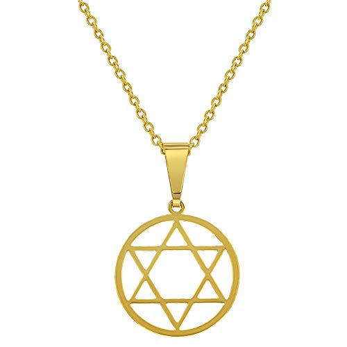In Season Jewelry 18k Gold Plated Star of David Judaica Pendant Necklace Jewish Religious 19