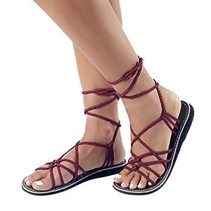 Plaka Flat Gladiator Sandals For Women by Sunset Sangria 6 Sahara